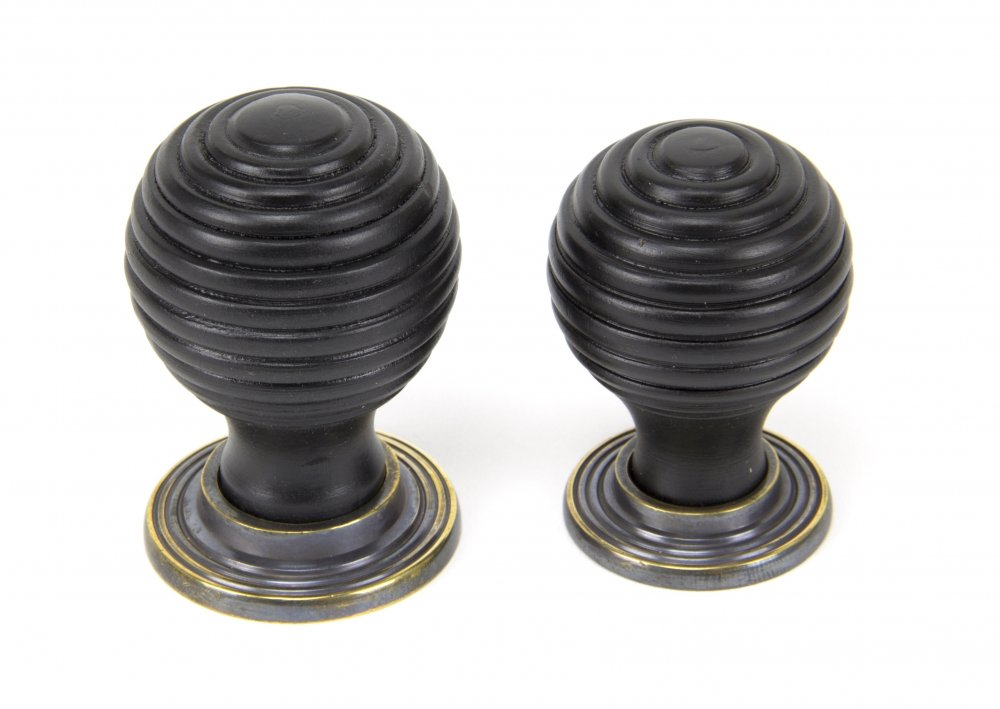 Ebony & Aged Brass Beehive Cabinet Knob - Small image