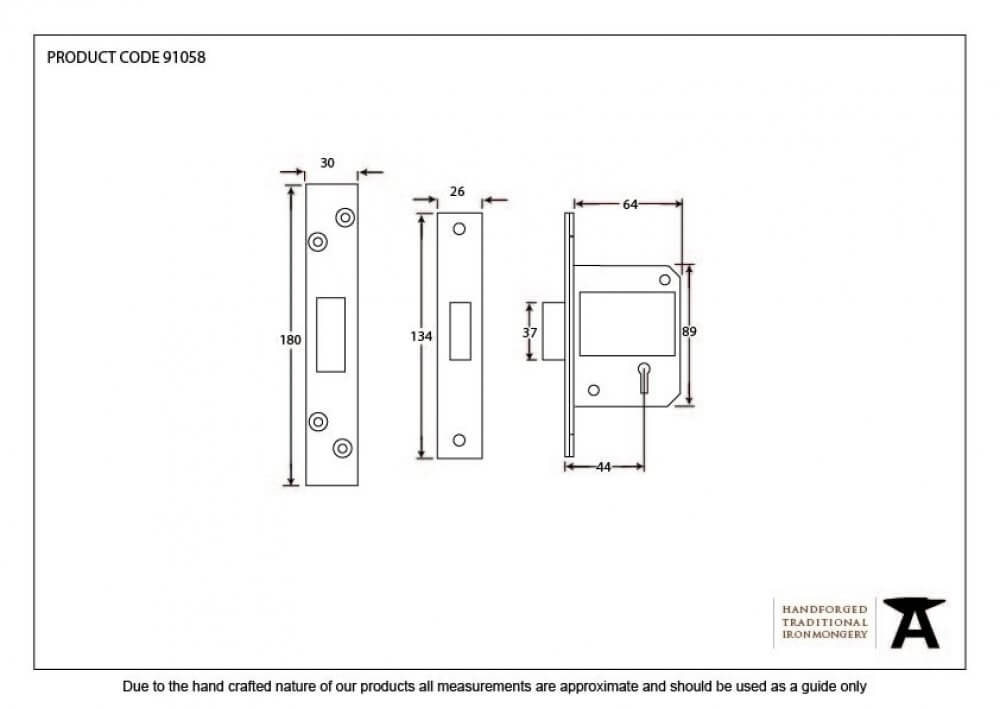 Black 2'' BS 5 Lever Deadlock image