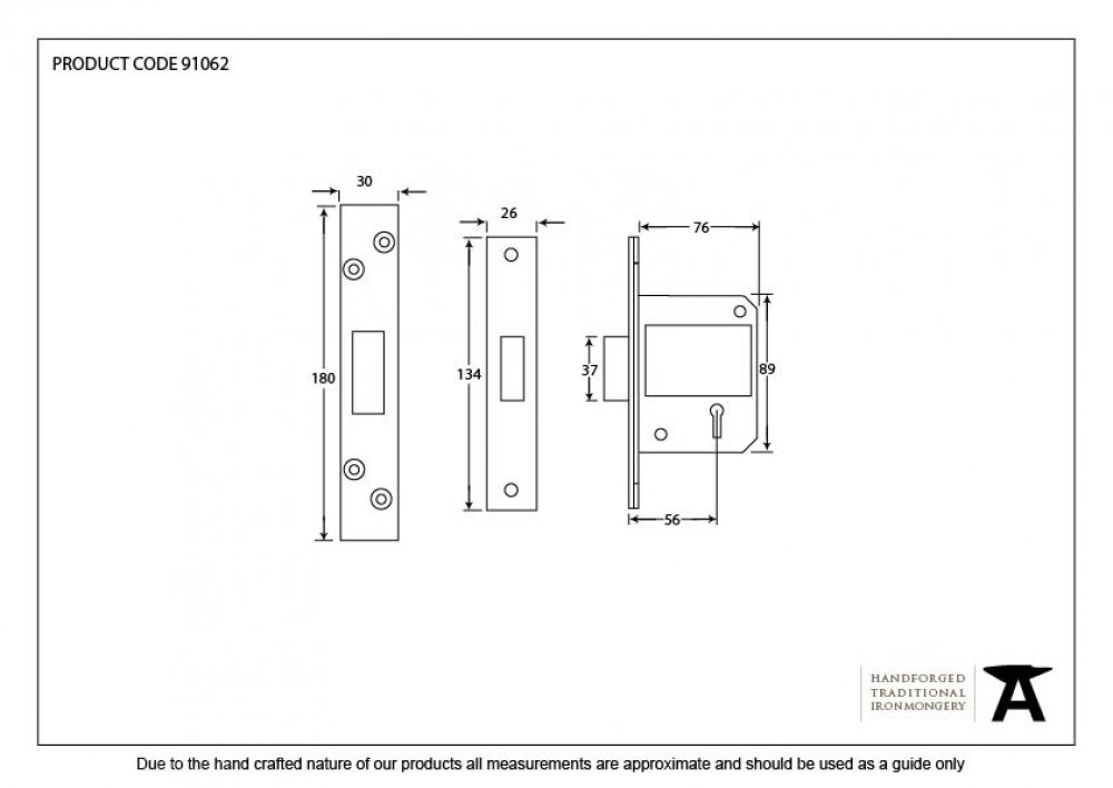 Black 3'' BS 5 Lever Deadlock image