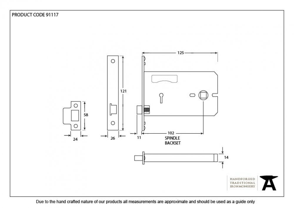 "Black 5"" 3 Lever Horizontal Bathroom Lock image"