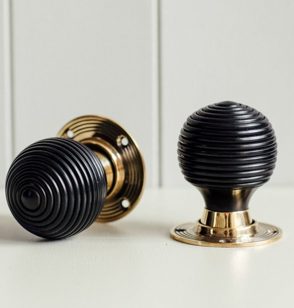 Ebony Wood Beehive Door Knobs With An Aged Brass Collar & Rose