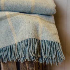 Aqua Windowpane Throw - Pure New Wool save 40%