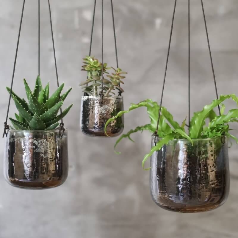 Hanging Planter - Aged Silver