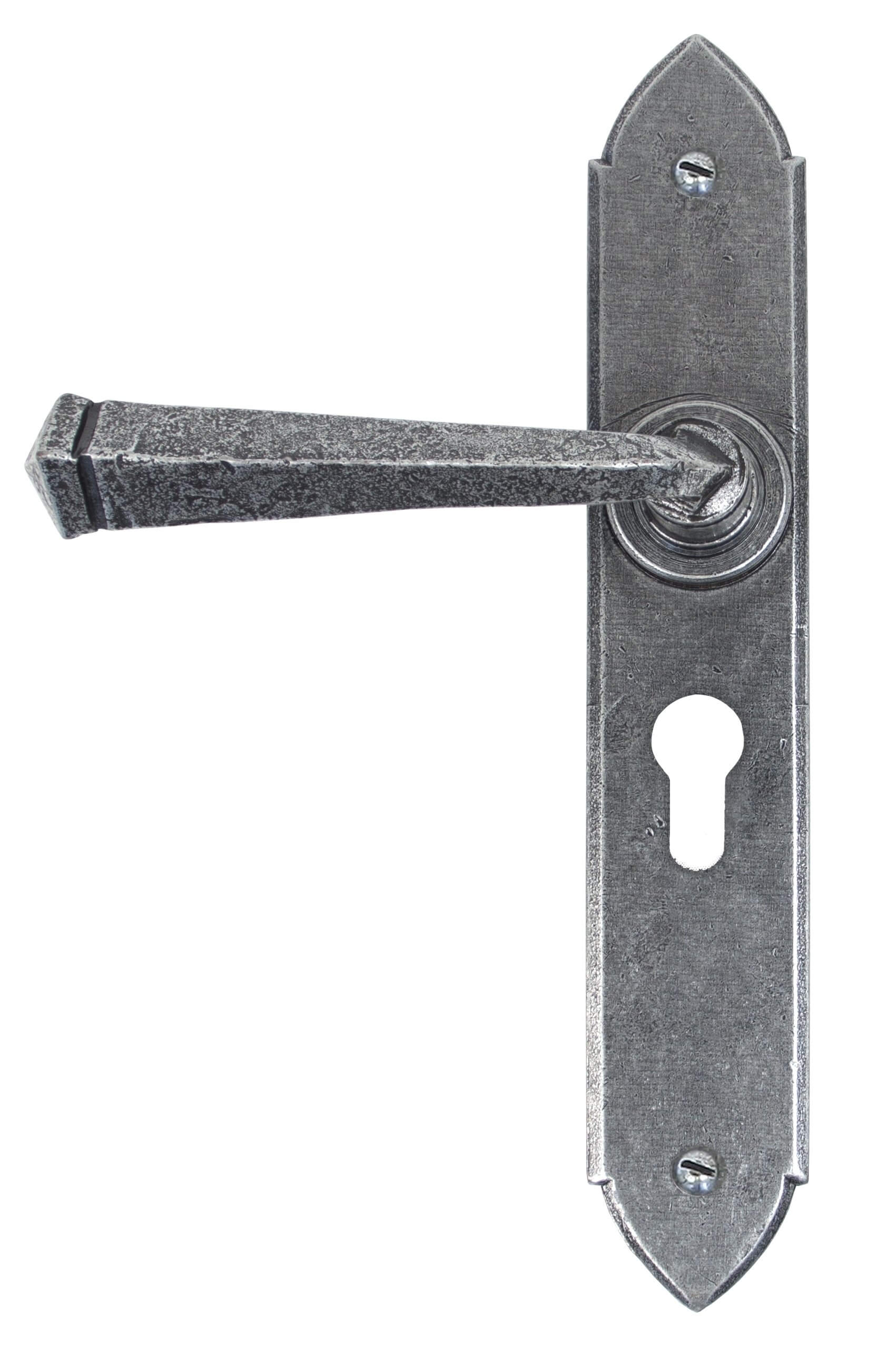 Pewter Gothic Lever Euro Lock Set