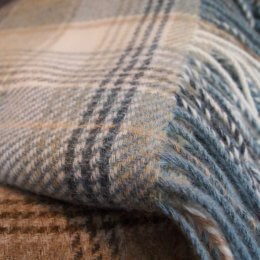 Aqua Check - Pure New Wool Throw SAVE 30%