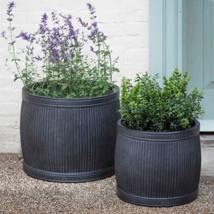 Set of 2 Fibre Clay  Rounded Planters
