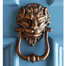 Large Lions Head Door Knocker - Autumn Bronze