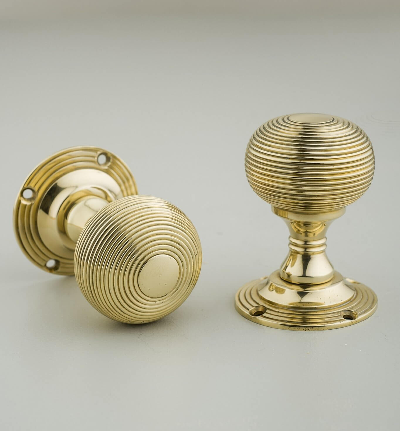 Beehive Empire Door Knobs (Pair) - Brass SAVE 15%