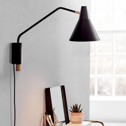 Black & Brass Adjustable Wall Light