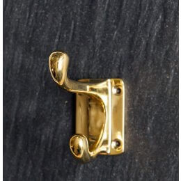 Hat and Coat Hook - Rectangular Base - Brass