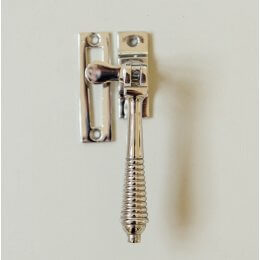 Reeded Casement Fastener - Polished Nickel