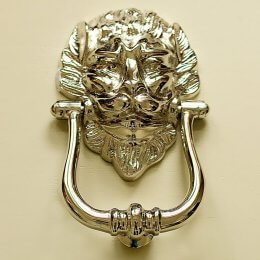 Large Lions Head Door Knocker - Polished Nickel