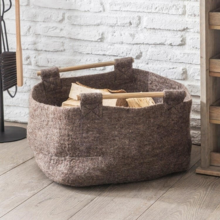Natural Basket with Wooden Handles