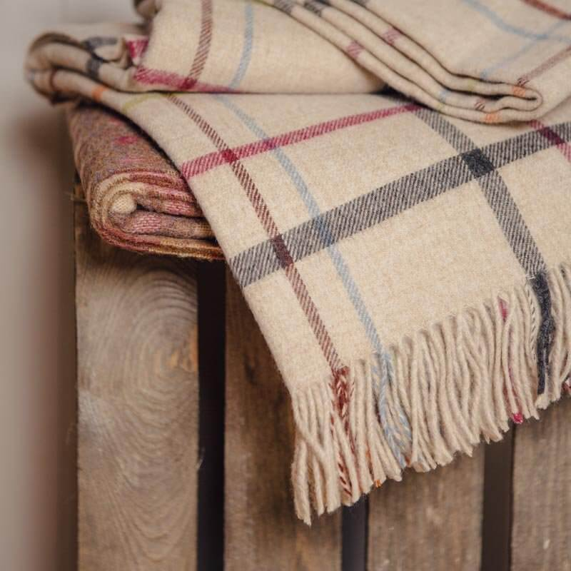 Natural / Multi Windowpane Check Throw - Lambswool save 35%
