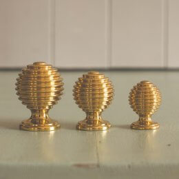 Reeded Cabinet Knob - Polished Brass save 20%