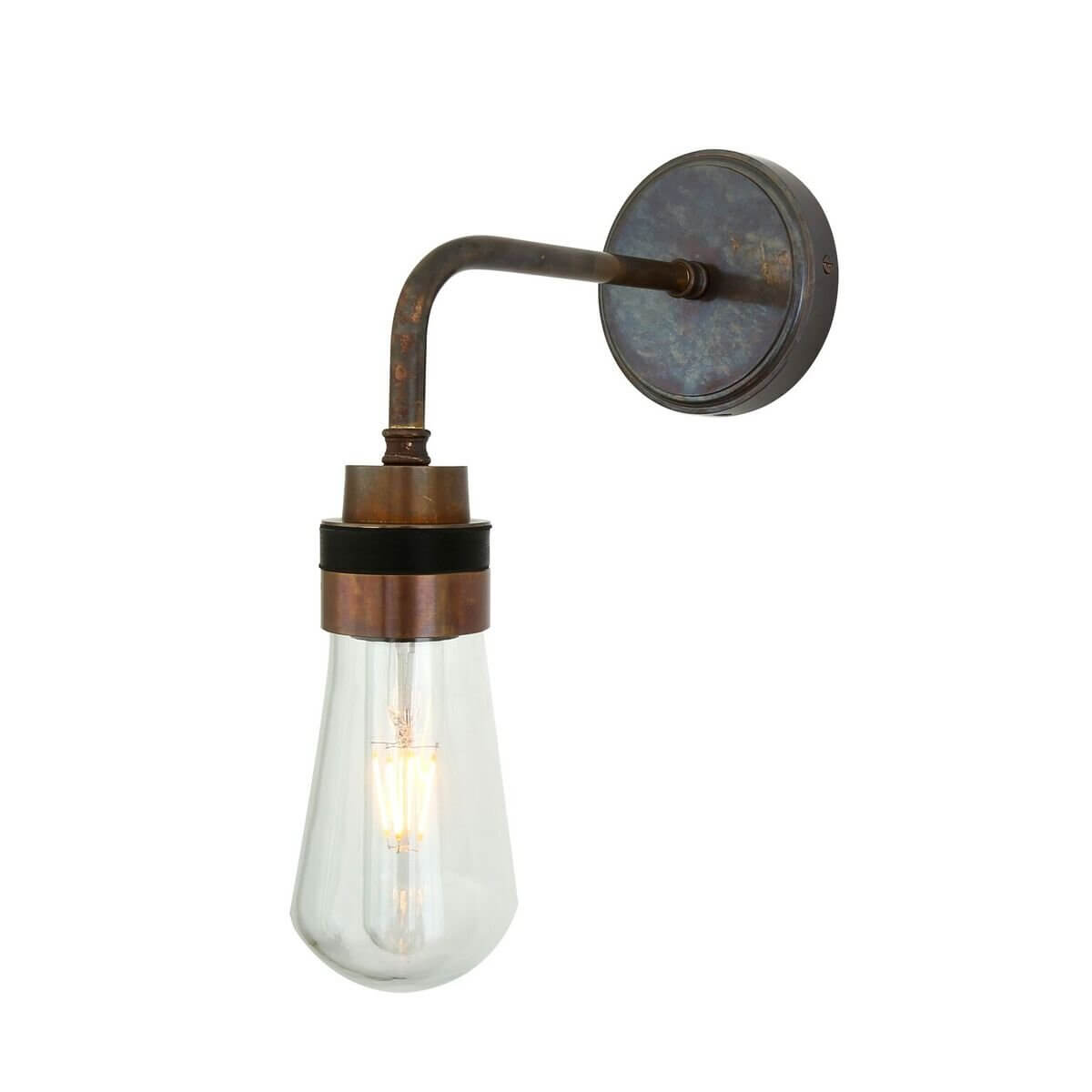 Industrial Wall Light in Antique Brass