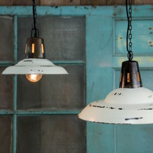Hanging Vintage Pendant - Distressed White save 40%