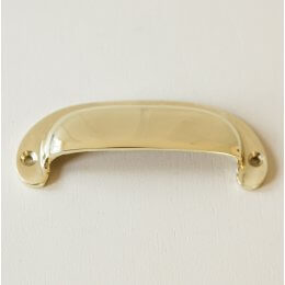 Curved Hooded Drawer Pull - Brass
