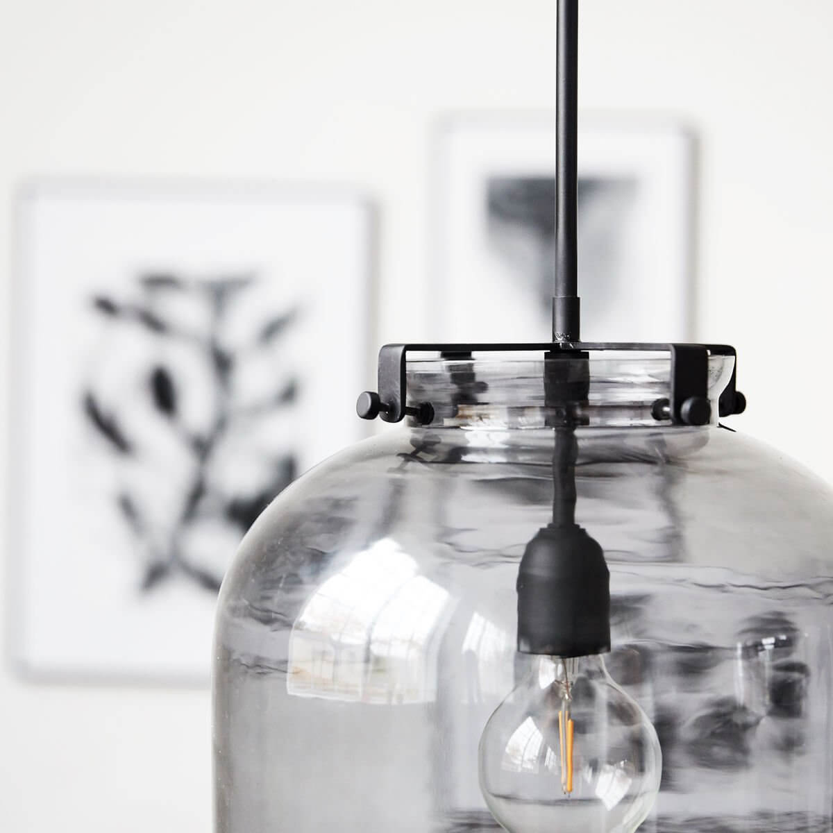 Grey Glass Pendant Light