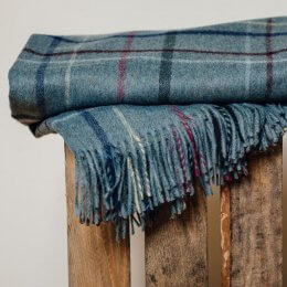 Petrol Blue Check Throw - save 35%