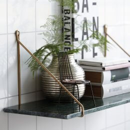 Green Marble Shelf with Brass Brackets