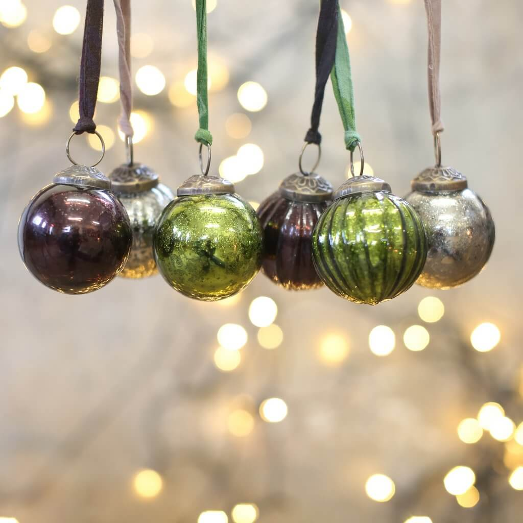 Coloured Baubles - Set of Six