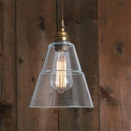 Industrial Glass & Brass Pendant Light