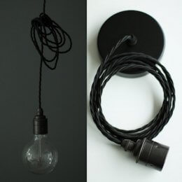 Vintage Style Pendant Set - Antique Finish & Raven Black Cable