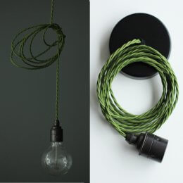 Vintage Style Pendant Set - Antique Finish & Garden Green Cable