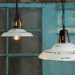 Hanging Vintage Pendant - Distressed White