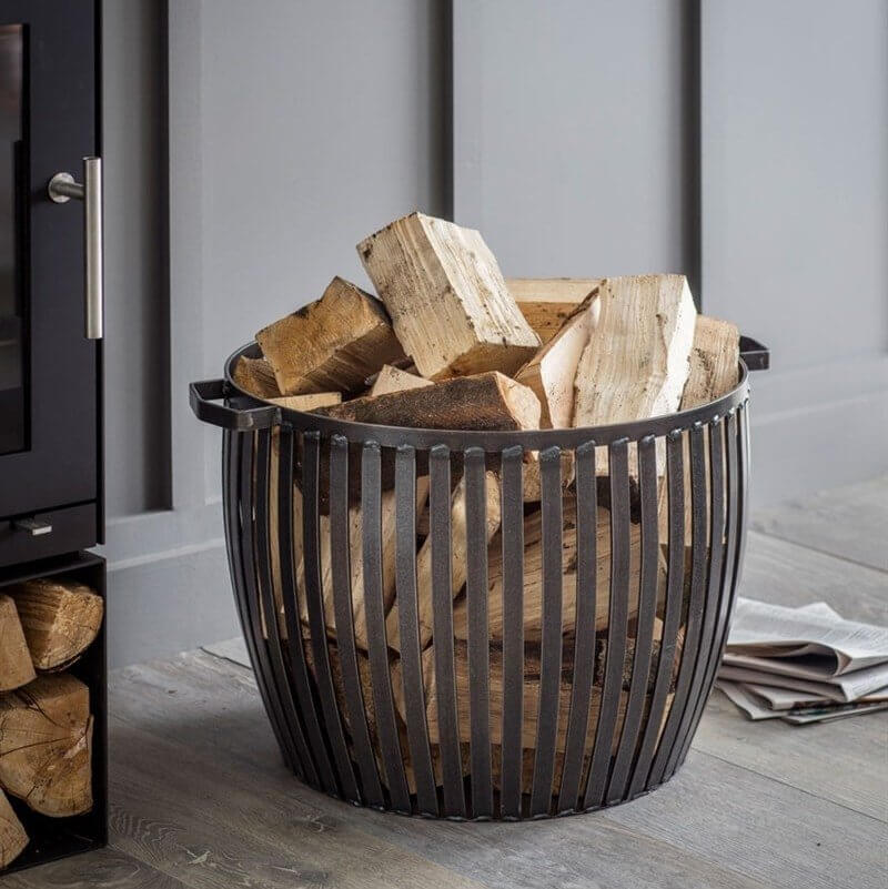 Pewter Log Basket