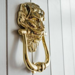 Large Lions Head Door Knocker - Brass