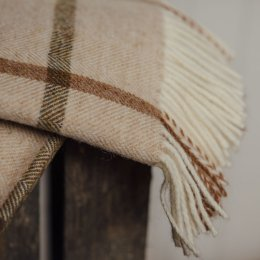 Natural Windowpane Throw - Pure New Wool save 40%