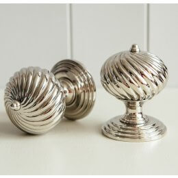 Swirl Design Door Knobs (Pair) - Nickel