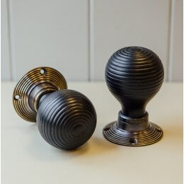 Ebonised Beehive Door Knobs (Pair) - Antique Brass Collar & Rose