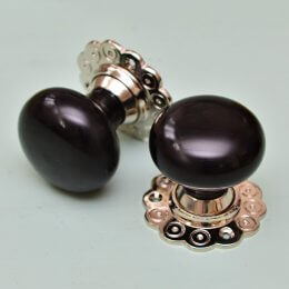 Ebony Bun Door Knobs (Pair) - Nickel Collar & Rose