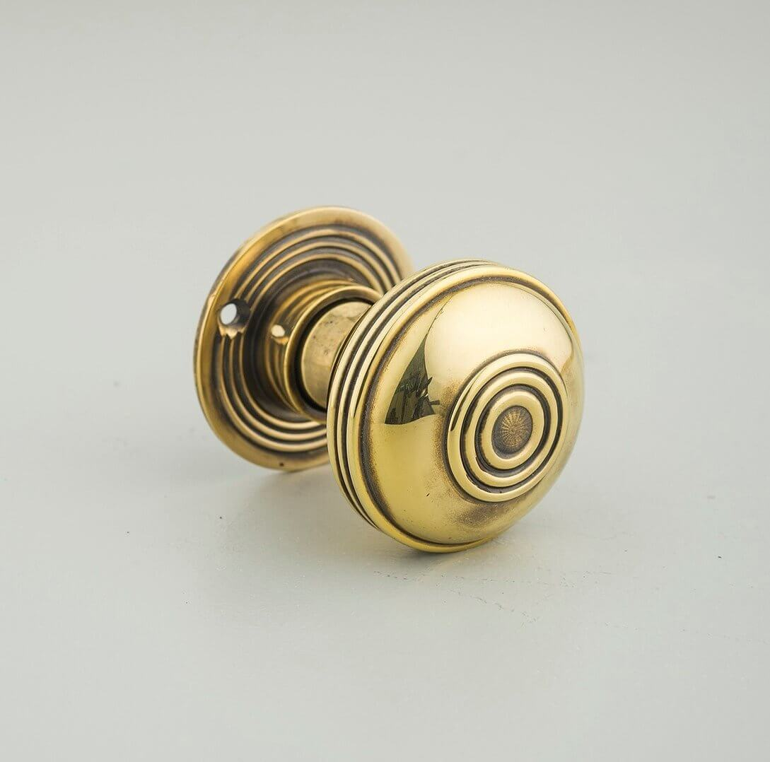 Regency-Style Door Knobs (Pair) - Aged Brass