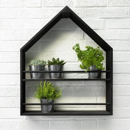 Pitched Roof Plant Holder - Black stained
