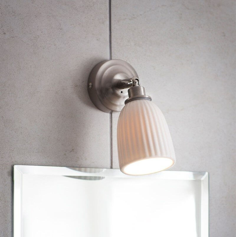 home wall lighting. Alma Bathroom Wall Light - Satin Nickel Home Lighting