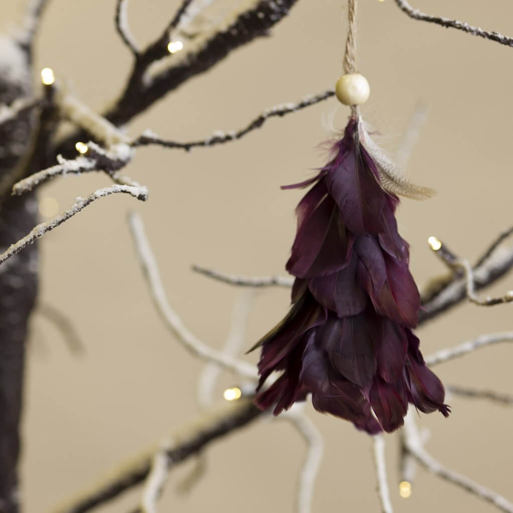 Feather Tree Decoration - Plum