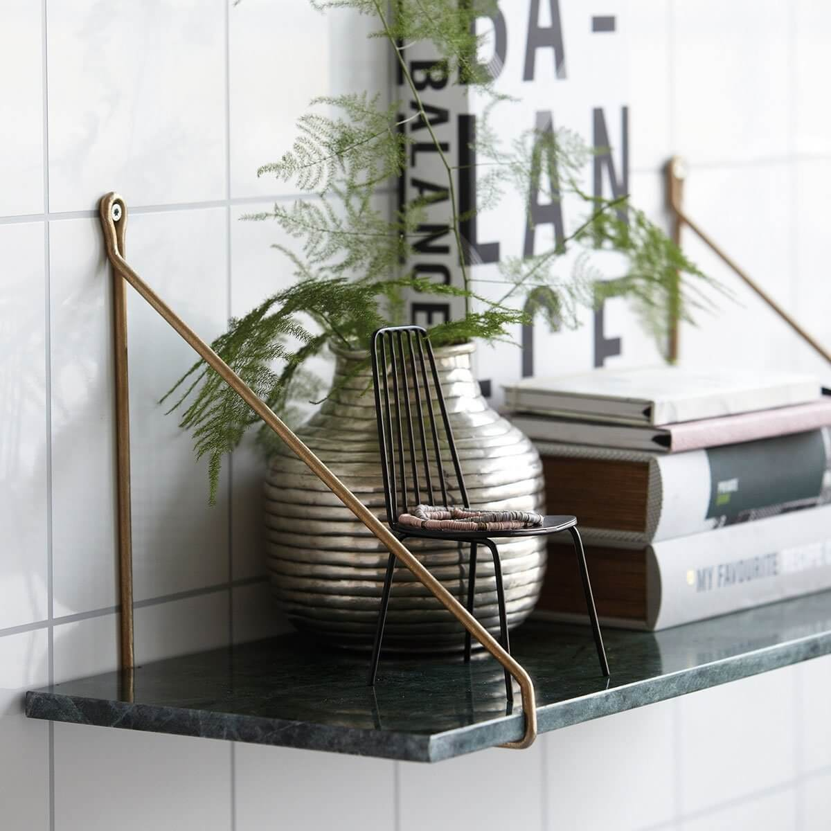 Green Marble Shelf with Brass Brackets - save 15%