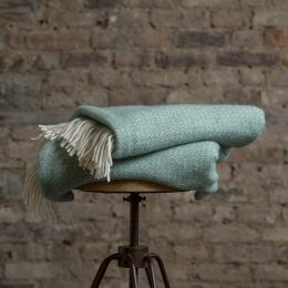 Sea Green Pure New Wool Throw - save 30%