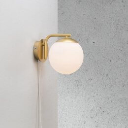 Opal Glass & Brass Wall Light