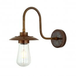 Swan Neck Wall Light in Antique Brass