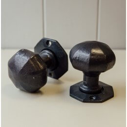 Hand Forged Octagonal Door Knobs (Pair) - Black Waxed