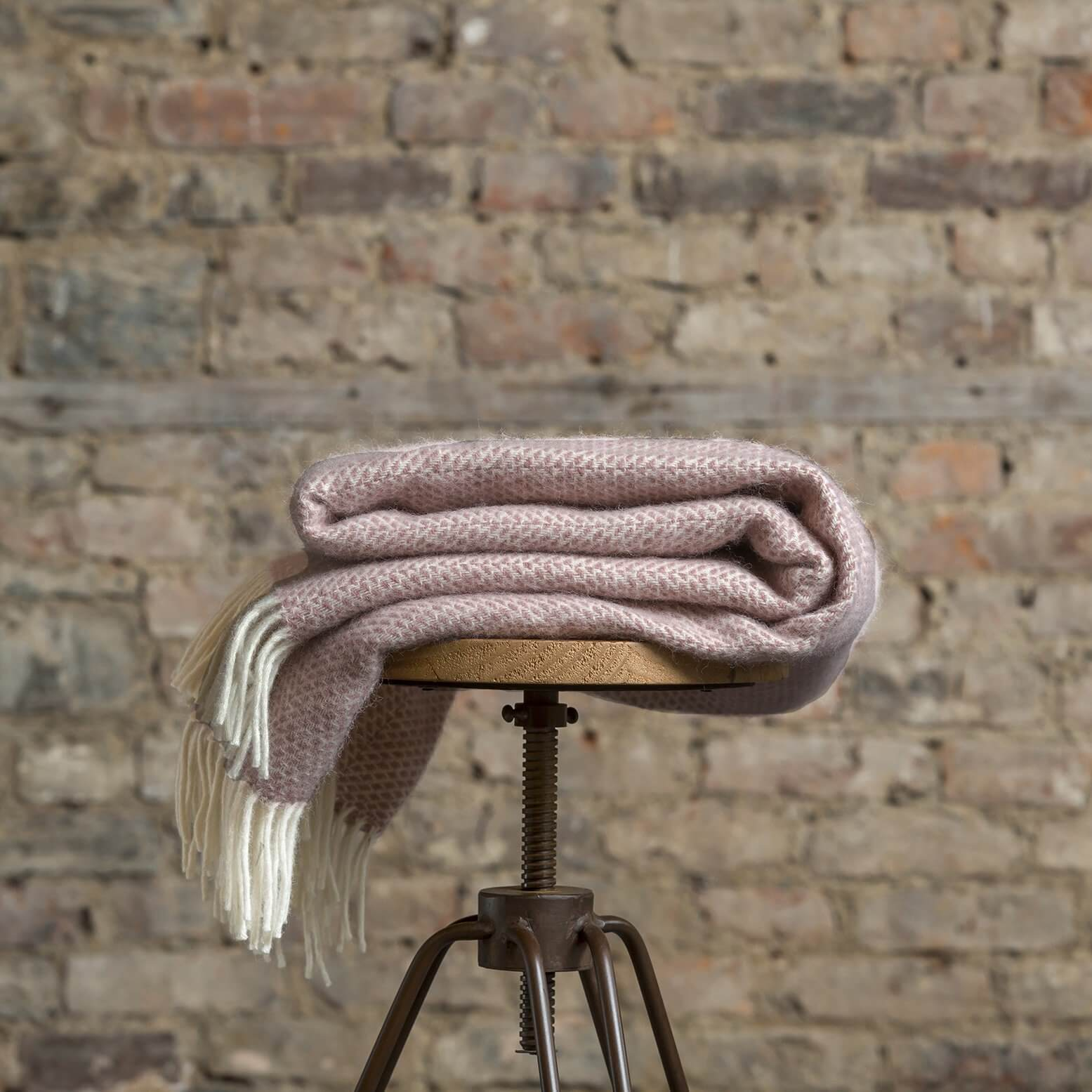 Dusky Pink Pure New Wool Throw