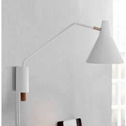 White & Brass Adjustable Wall Light